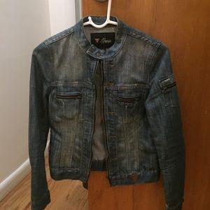 Faded Denim Distressed Zip Up Jacket